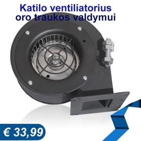 Katilo ventiliatorius oro traukos valdymui