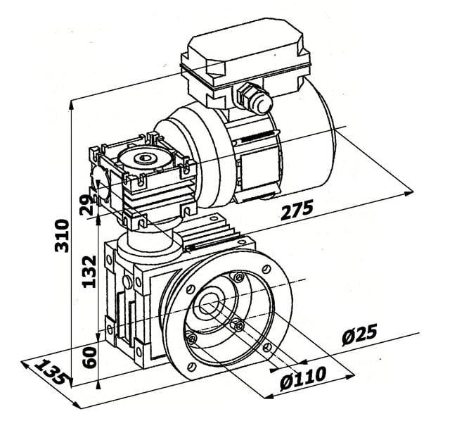 motoreduktorius 0,18 kw brezinys