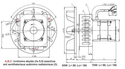 Katilo dūmų išmetimo ištraukimo ventiliatorius 75 W schemos