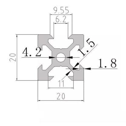 aliuminio profilis 20x20 išmatavimai