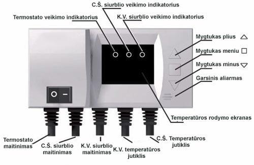 Termostatas karšto vandens ir šildymo sistemos siurblių valdymui schema