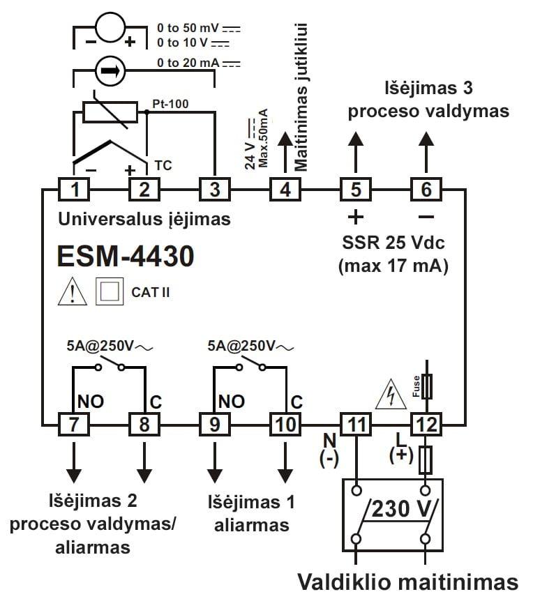 Temperatūros, proceso valdiklis su universaliu įėjimu ESM-4430 schema