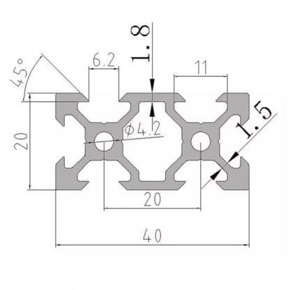 20x40 aliuminio profilis schema