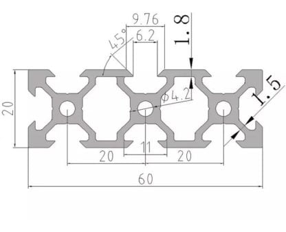 aliuminio profilis 20x60 brežinys