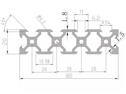 aliuminio profilis 20x80 brežinys