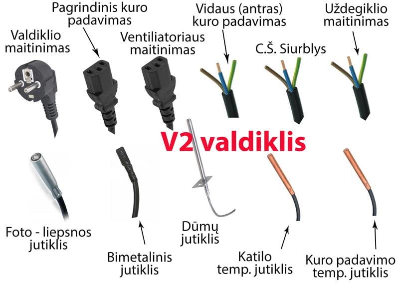 Granulinio katilo valdiklis su kuro padavimu, uždegikliu ir fotojutikliu V2 kabeliai