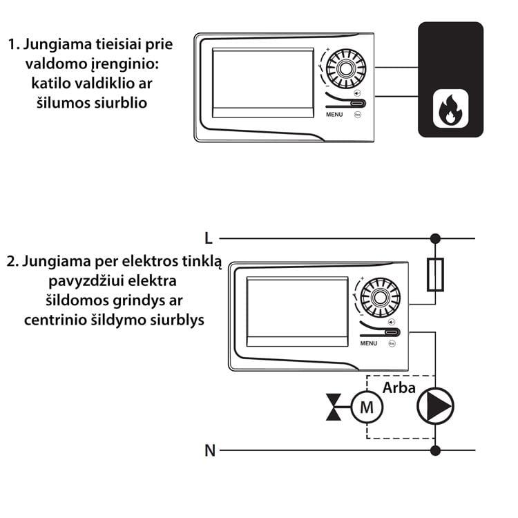 Kambario termostatas su dideliu ekranu schema