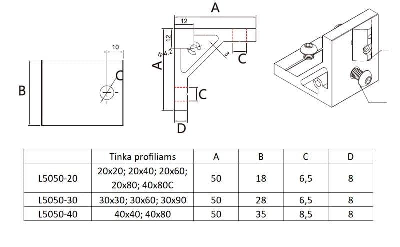 90 Support aliuminio profiliams išmatavimai