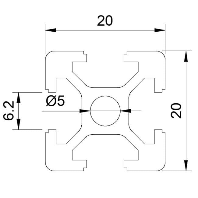 Aliuminio profilis 20x20 T-slot brezinys