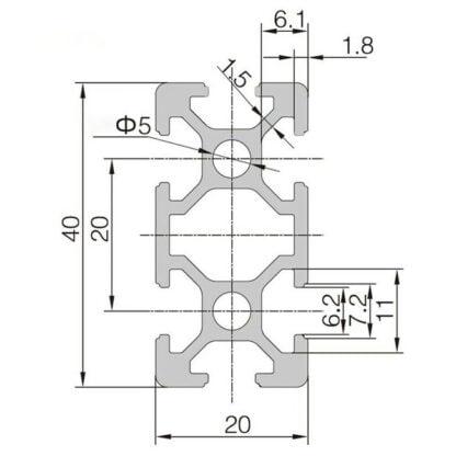 Aliuminio profilis 20x40 T-slot brežinys