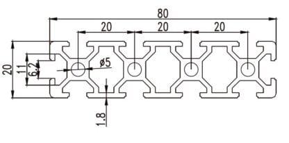 Aliuminio profilis 20x80 T-slot brežinys