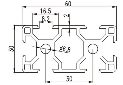 Aliuminio profilis 30x60 T-slot brezinys