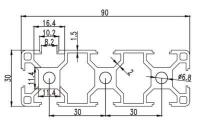 Aliuminio profilis 30x90 T-slot brezinys
