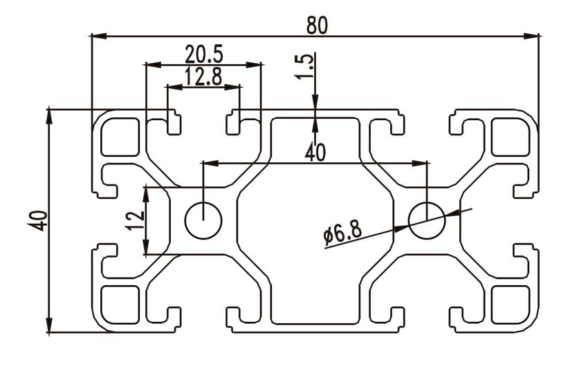 Aliuminio profilis 40x80 T-slot brezinys
