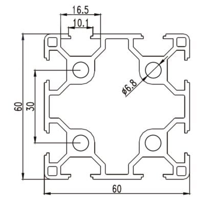 Aliuminio profilis 60x60 T-slot brezinys