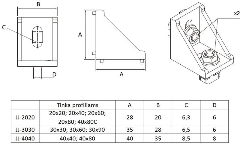Brackets aliuminio profiliams išmatavimai 2020