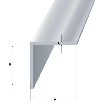 L formos aliuminio kampuotis 20x20x2 išmatavimai