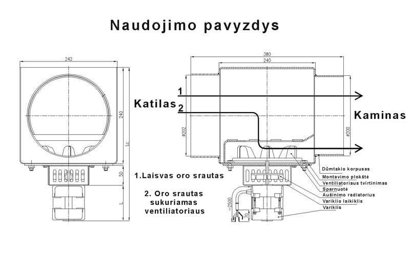 Katilo dūmų išmetimo ištraukimo ventiliatorius 75 W naudojimo pavyzdys