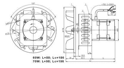 Katilo dūmų išmetimo ištraukimo ventiliatorius 75 W schema