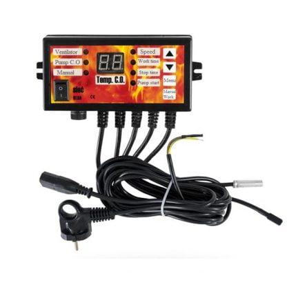 Katilo valdiklis, termostatas – ventiliatoriui, siurbliui