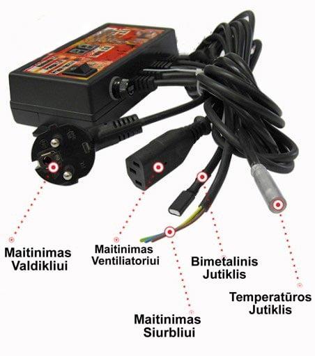 Katilo valdiklis, termostatas – ventiliatoriui, siurbliui veikimas