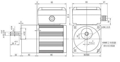 Motoreduktorius 25 W. Variklis ir reduktorius išmatavimai schema