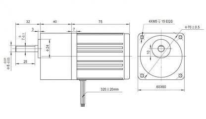 motoreduktorius 10 W išmatavimai